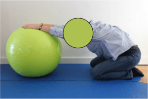How to exercise during pregnancy: pelvis mobility exercise, back stretching swiss ball